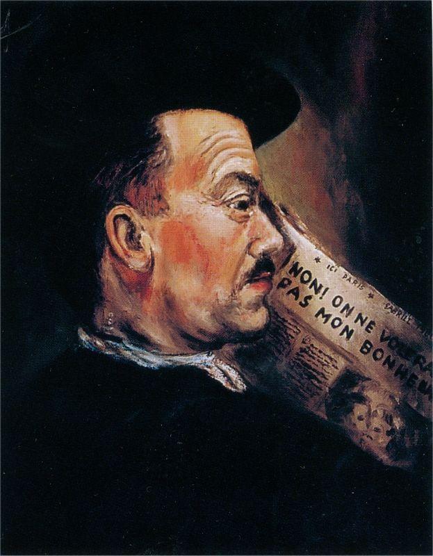 """Portrait du père de Gabriël Sterk peint par l'artiste à seize ans. Sur le journal, on peut lire : """"Non ! On ne volera pas mon bonheur."""""""